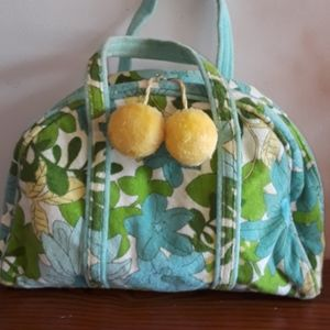 Vintage terry cloth ladies handbag with pom poms